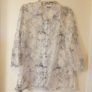 CHICO's 3/4 Sleeve Button Down Shirt Size 1